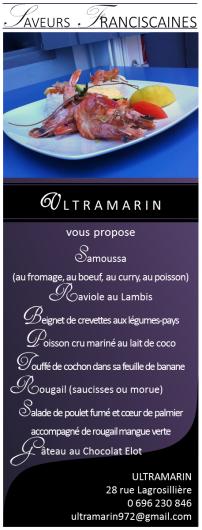 Menu du restaurant Ultramarin
